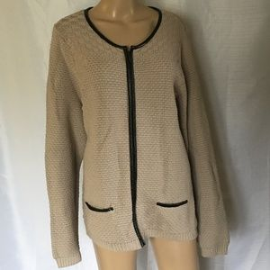Old Navy Knit Sweater Sz 2XL Beige Full Zipper